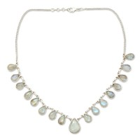 Luminous Light Hand Made Moonstone Jewelry Sterling Silver Necklace ANDN-26