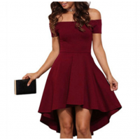 Women Slash A-Line Off Shoulder Sexy Party Casual Dress WC-87RD
