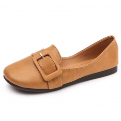 Women Brown Leather Shallow Mouth Flat Shoes S-68