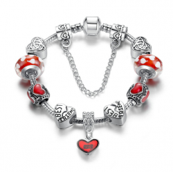 European Charm Red Bead Bracelet With Silver Plate For Women CBD-20RD