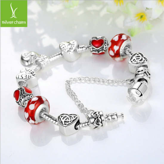 European Charm Red Bead Bracelet With Silver Plate For Women CBD-20RD image