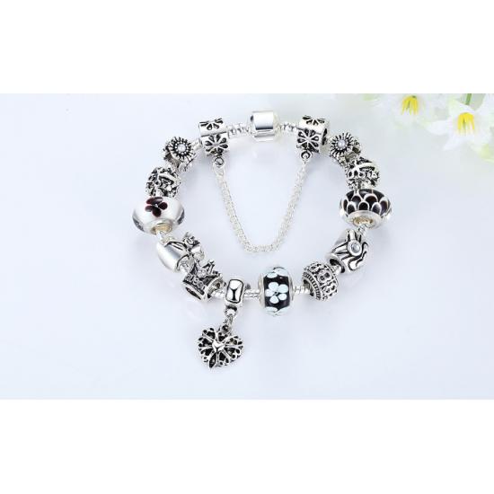 Fashion Jewelry European Pendants Charms Bead Silver Bracelet For Women CBD-14BK image