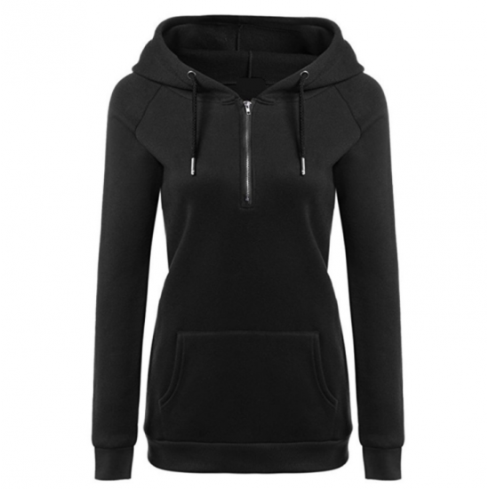 New Fashion Hoodie Thicken Long Sleeve Black Color Women Sweater WH-11BK image