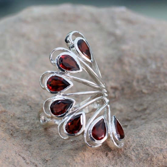 Wing of Love 3.5 Cts Garnet and Sterling Silver Ring from India Jewelry ANDR-5