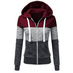 Women Pullover Hoodie Red & Grey Cotton Casual Sweater WH-16RG