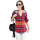 Women Flannel Plaid Design Red with White Shades Hoodied Shirt WH-19RD