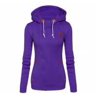 Slim Women Simple Pullover Long Sleeves Purple Hoodie WH-09PL