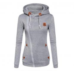 Slim Women Simple Pullover Long Sleeves Grey Hoodie WH-09GR