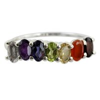 Positivity Multi Gemstone Sterling Silver Ring Chakra Jewelry ANDR-6