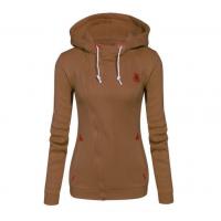 Slim Women Simple Pullover Long Sleeves Brown Hoodie WH-09BR
