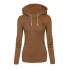 Slim Women Simple Pullover Long Sleeves Brown Hoodie WH-09BR