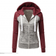 Women Pullover Hoodie Red & Grey Cotton Casual Sweater WH-10RG