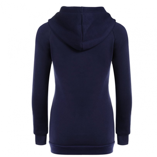 New Fashion Hoodie Thicken Long Sleeve Navy Blue Color Women Sweater WH-11BL image