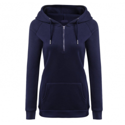 New Fashion Hoodie Thicken Long Sleeve Navy Blue Color Women Sweater WH-11BL