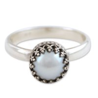 Taxco Royalty Hand Made Fine Silver Single Stone Pearl Ring ANDR-7