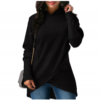 Women Long Sleeve Black Color Solid Irregular Pullover Hoodie WH-13BK