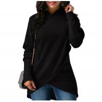 Women Long Sleeve Black Color Solid Irregular Pullover Hoodie WH-13BK