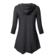 Women Fashion V Neck Hoodie Black Irregular Striped Long Sweater Hoodie WH-15BK image