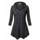 Women Fashion V Neck Hoodie Black Irregular Striped Long Sweater Hoodie WH-15BK