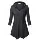 Women Fashion V Neck Hoodie Black Irregular Striped Long Sweater Hoodie WH-15BK