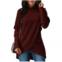 Women Long Sleeve Red Color Solid Irregular Pullover Hoodie WH-13RD