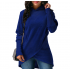 Women Long Sleeve Blue Color Solid Irregular Pullover Hoodie WH-13BL