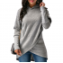 Women Long Sleeve Grey Color Solid Irregular Pullover Hoodie WH-13GR