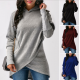 Women Long Sleeve Grey Color Solid Irregular Pullover Hoodie WH-13GR image