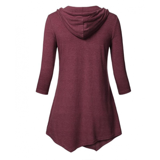 Women Fashion V Neck Hoodie Red Irregular Striped Long Sweater Hoodie WH-15RD