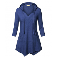 Women Fashion V Neck Hoodie Blue Irregular Striped Long Sweater Hoodie WH-15BL