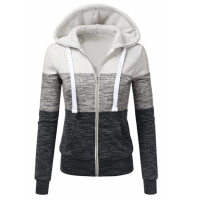 Women Pullover Hoodie Grey & White Cotton Casual Sweater WH-16GR