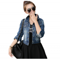 Women Latest Design Ripped Denim Slim Wild Blue Jacket WJ-14BL
