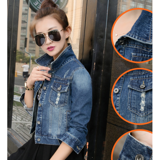 Women Latest Design Ripped Denim Slim Wild Blue Jacket WJ-14BL image