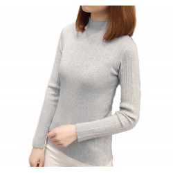 New Cashmere Round Neck Short Paragraph Grey Slim Sweater WH-17GR