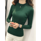 New Cashmere Round Neck Short Paragraph Green Slim Sweater WH-17GN