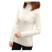 New Cashmere Round Neck Short Paragraph White Slim Sweater WH-17WT