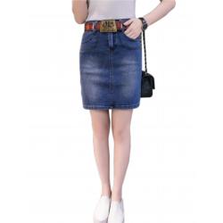Women Fashion Sexy Midi Denim Vintage Design Blue Color Mini Skirt WC-89BL