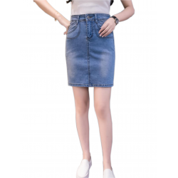 Women Fashion Sexy Midi Denim Vintage Design Light Blue Color Mini Skirt WC-89LB