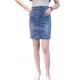 Women Fashion Sexy Midi Denim Vintage Design Light Blue Color Mini Skirt WC-89LB