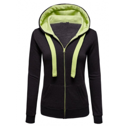 Women Fashion Black with Green Shade Zip Body Fit Hoodie Sweater H-12BG