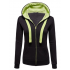 Women Fashion Black with Green Shade Zip Body Fit Hoodie Sweater H-12BG
