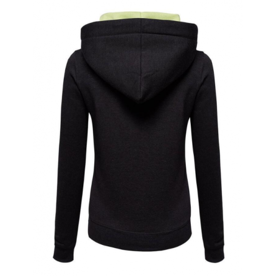 Women Fashion Black with Green Shade Zip Body Fit Hoodie Sweater H-12BG image