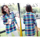 Women Green Squares Shaded Cotton And Linen Long Sleeve Casual Shirt WC-90
