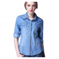 Womens Fashion New Slim Denim Cardigan Stylish Long Sleeve Light Blue Color Shirt WC-91LB