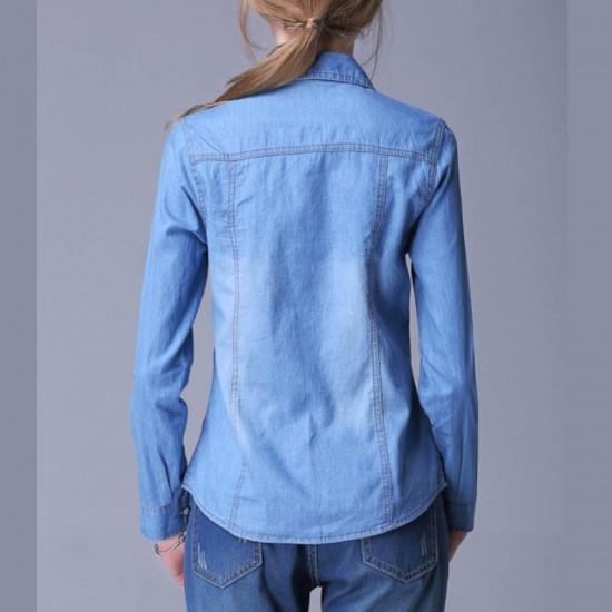 Womens Fashion New Slim Denim Cardigan Stylish Long Sleeve Light Blue Color Shirt WC-91LB image