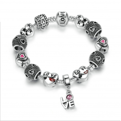 Silver Charm Alloy Bracelet with Love and Flower Crystal Ball CBD-16