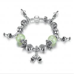 Women Silver Bells Hanging Bracelet with Light Green DIY Beads CBD-18