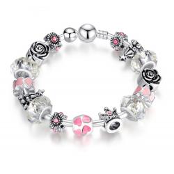 Silver Murano Pink Beads Charm Bracelet CBD-28