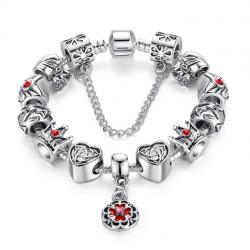 Women Silver Charm Bracelet with Royal Crown Pendant CBD-19