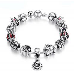 Silver Charm Tibetan Bracelet with Royal Crown Crystal CBD-27